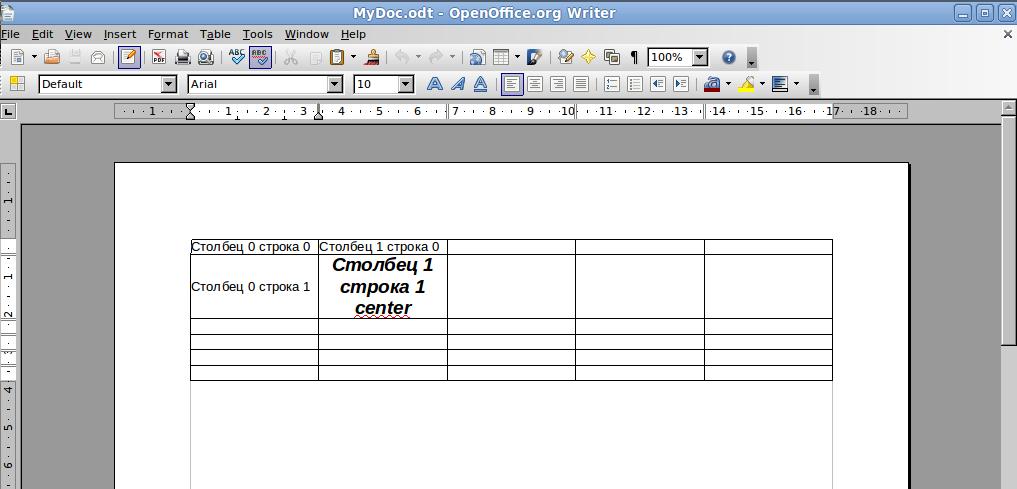 таблицы работа с опен офис